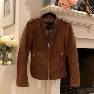 Guess 100% Genuine Leather Jacket Cognac Color SM